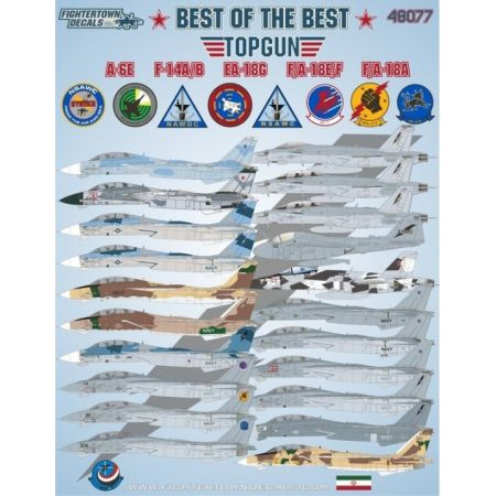 Fighter town decals Top Gun Best of the Best A-6E, F-14A/B, EA-18G, F/A-18E/F, F/A-18A