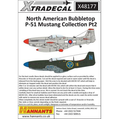 XTRADECAL 48177 International North-American P-51D Mustang Bubbletops Pt 2