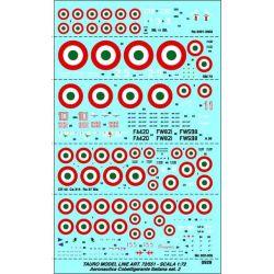 TAURO MODEL 72551 COBELLIGERANTE  - A 30  Mc 202/205 CR 42  Ca 314 SM 73 Re 2001/2002 Ro 37 Bis DECALS 1/72