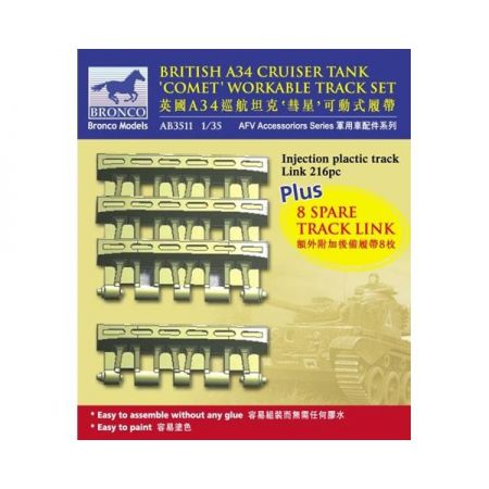 BRONCO MODELS 3511 British A34 Cruiser Tank 'Comet' Workable Track Set 1/35