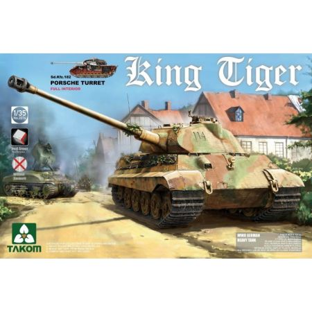 TAKOM MODEL 2074 German Heavy Tank Sd.Kfz.182 King Tiger Porsche Turret con interni, senza Zimmerit