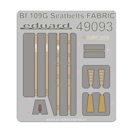 Eduard 49093 Bf 109G seatbelts FABRIC 1/48