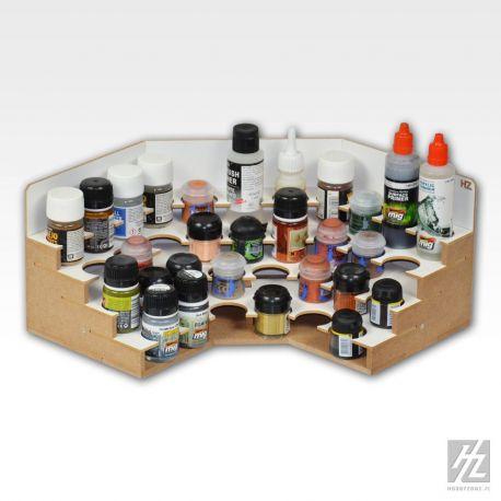 HobbyZone Organizer modulare ad angolo per 34 boccette di colore diametro 36mm. Dimensioni cm 30x30x15