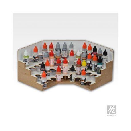 HobbyZone Organizer modulare ad angolo per 48 boccette di colore diametro 26mm. Dimensioni cm 30x30x15