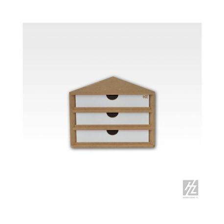 HobbyZone cassettiera ad angolo con 3 cassetti. Dimensioni cm 15x15x15