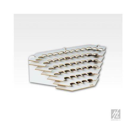 HobbyZone: Postazione angolare per 49 boccette di colore diametro 26mm. Dimensioni cm 32x32x14