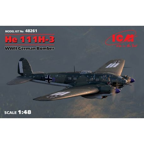 ICM 48261 He 111H-3, WWII German Bomber (100% new molds)