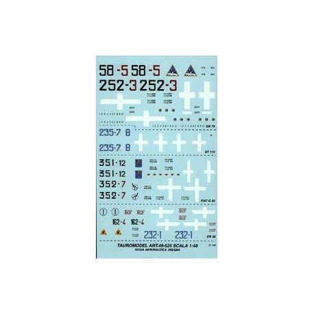 TAURO MODEL 48525 INSEGNE E NUMERI REGIA AERONAUTICA PER G 50 - SM 79 - Cr 42 - Bf 110
