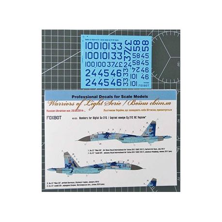 FOXBOT 48025 Decal Numbers for Su-27S Ukranian Air Forces, digital camouflage