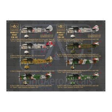 HAD MODELS 48117 FIAT Cr-32 (Royal HunAF black 84, V188, V169, V161, V171,V095 German 147, Italian410-8)