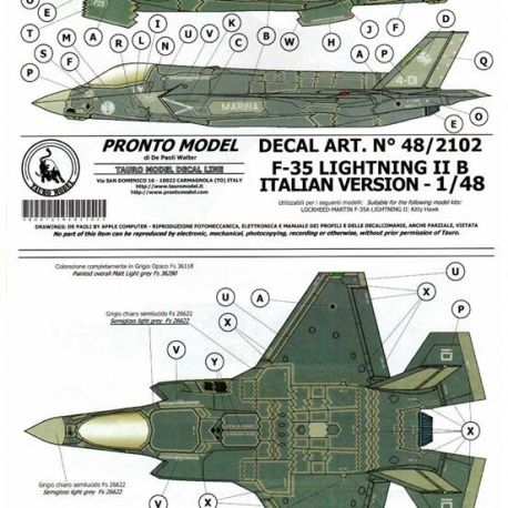 TAURO MODEL 482102 F-35 LIGHTNING IIB ITALIAN VERSION 1/48