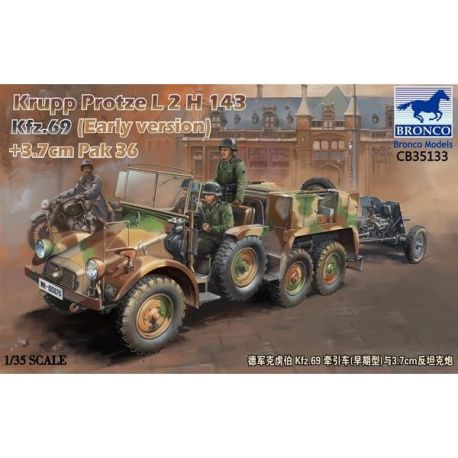 Bronco Models 35133 Krupp Protze Kfz.69 L 2 H 143 with 3.7cm Pak 36 (Early version)