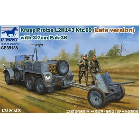 Bronco Models 35138 Krupp Protze L2H143 Kfz.69 (Late version) with 3.7cm Pak 36