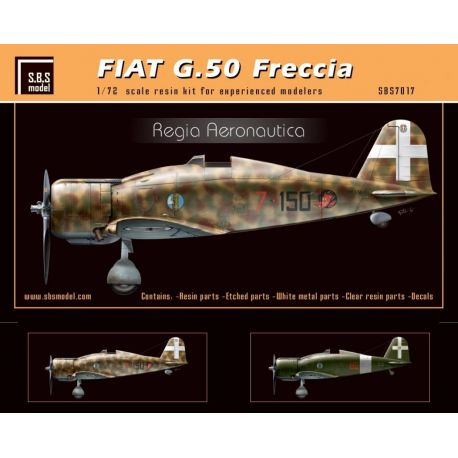 SBS MODEL- Fiat G.50 Freccia 'Regia Aeronautica' 1/72- kit in resina