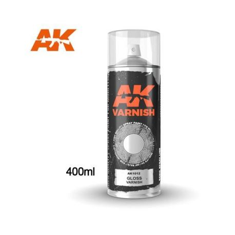 AK INTERACTIVE 1012 Gloss Varnish - Spray 400ml (Includes 2 nozzles)