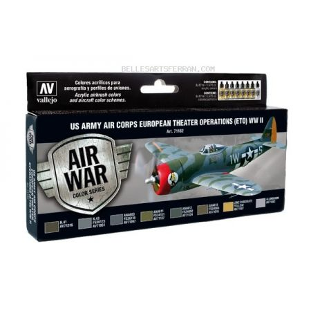 VVallejo 71182 Air War Color Series - US Army Air Corps European Theater Operations (ETO) WWII Set