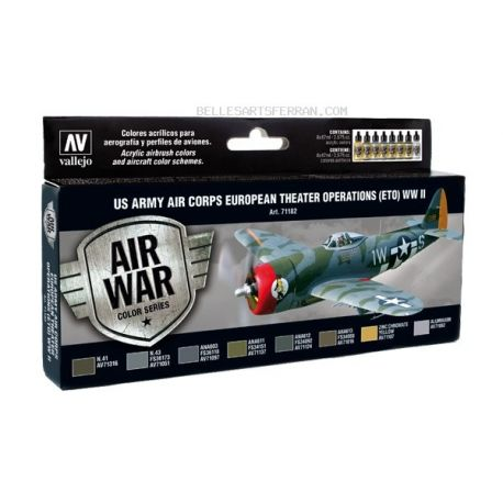 Vallejo 71182 Air War Color Series - US Army Air Corps European Theater Operations (ETO) WWII Set