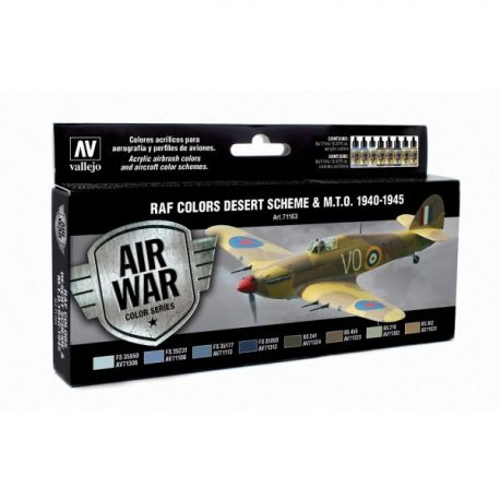 Vallejo 71163 Air War Color Series - RAF Colors Desert Scheme & M.T.O. 1940-1945 Set