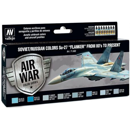 "Vallejo 71602 Air War Colour Series- set Soviet/Russian Colours Sukhoi Su27""Flanker""from '80's to Present"