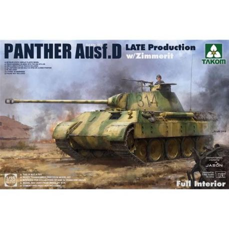 TAKOM MODEL 2104 WWII German Sd.Kfz.171 Panther Ausf.D Late production con Zimmerit e interni