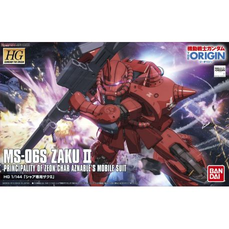 BANDAI 37640 HG MS-06S ZAKU II CHAR 1/144 HIGH GRADE THE ORIGIN 001