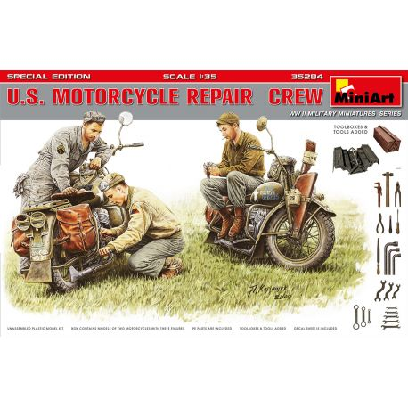 MINIART 35284 U.S. MOTORCYCLE REPAIR CREW. SPECIAL EDITION
