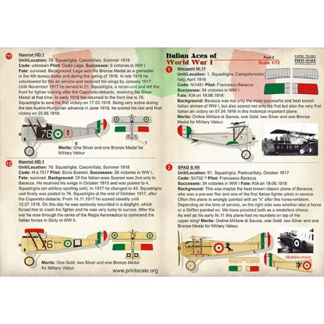 PRINT SCALE 72301 Italian Aces of WW Part 2 Includes Hanriot HD.I, Spad S.VII, Nieuport N.17, Nieuport N.11