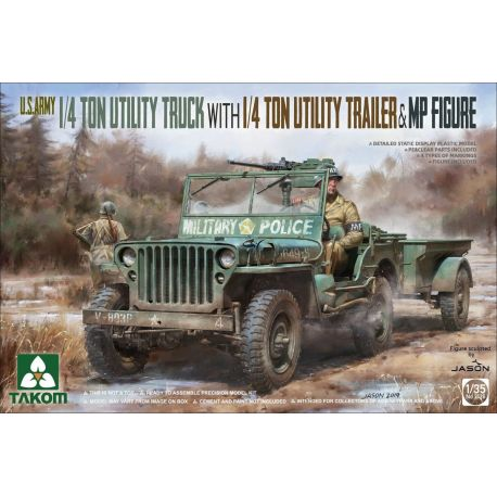 TAKOM 2126 U.S. Army 1/4 ton utility truck with 1/4 ton utility trailer/ MP figure
