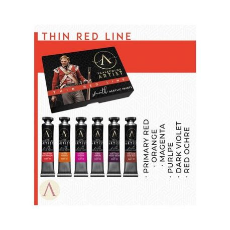 SCALE75- set of 6 acrylic paints in 20ml tube, artistic range- THIN RED LINE