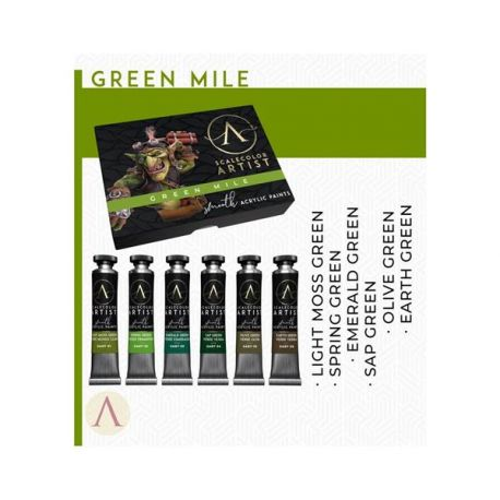 SCALE75- set of 6 acrylic paints in 20ml tube, artistic range- GREEN MILE