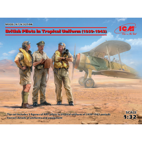 ICM 32106 British Pilots in Tropical Uniform (1939-1943) (3 figures) 1/32