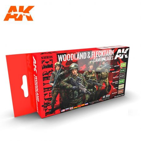 AK INTERACTIVE 3250 Set WOODLAND AND FLECKTARN CAMOUFLAGES