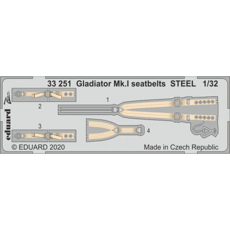 EDUARD 33251 Gladiator Mk. I seatbelts STEEL 1/32