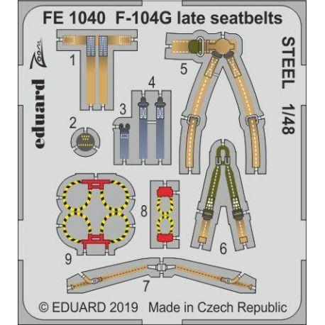 EDUARD FE1040 F-104G late seatbelts STEEL 1/48