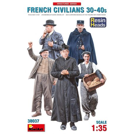 MINIART 38037 FRENCH CIVILIANS '30-'40s. RESIN HEADS 1/35