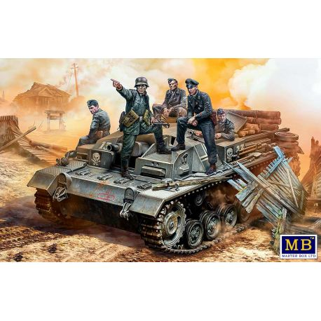 Master Box 35208 German StuG III Crew. WW II era. Their position is behind that forest!