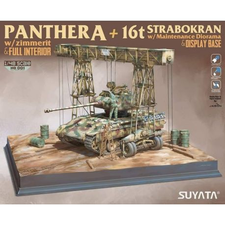 SUYATA Panther A + 16T Strabokran w maintenance diorama + display base 1/48