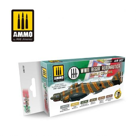 AMMO of MIG WWII Regia Aeronautica – Early Colors - set di pittura con 6 acrilici da 17ml