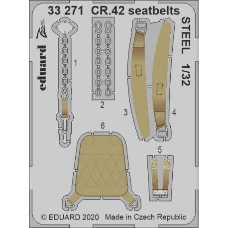 EDUARD 33271 CR.42 seatbelts STEEL 1/32