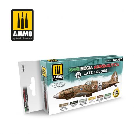 AMMO of MIG WWII Regia Aeronautica – Late Colors Set- set di pittura con 6 acrilici da 17ml