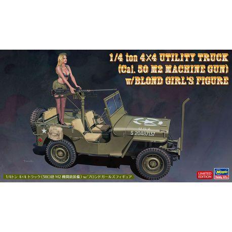 HASEGAWA SP483 1/4 ton 4x4 Utility Truck (Cal. 50 M2 Machine Gun) w/Blond Girl's Figure