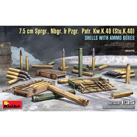 MINIART 35375 7.5 cm Sprgr., Nbgr. & Pzgr. Patr. Kw.K.40 (Stu.K.40) SHELLS WITH AMMO BOXES
