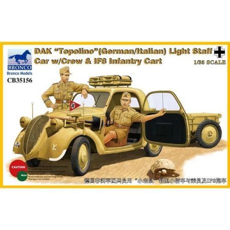 "Bronco Models 35156 DAK/Afrika Korps ""Topolino"" (German/Italian) Light Staff Car with Crew & IF8 Infantry Cart"