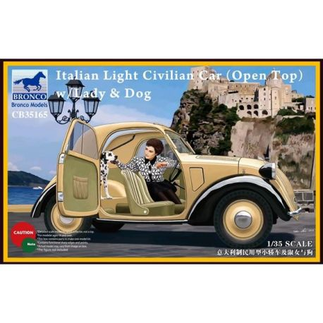 "Bronco Models 35165 Fiat 500 ""Topolino"" Italian Light Civilian Car (Open Top) with Lady & Dog"
