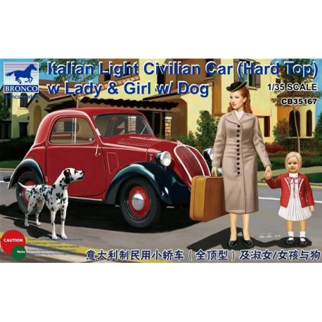 "Bronco Models 35167 Fiat 500 ""Topolino"" Italian Light Civilian Car (Hard Top) with Lady & Dog"