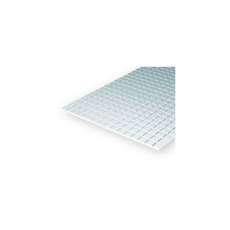 "EVERGREEN 4507 Square Tile (Heavy Groove) .040"" Thick (1,0 mm) Opaque White Styrene"