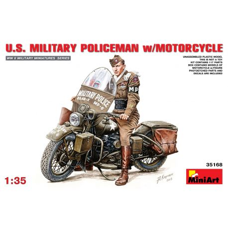 MINIART 35168 U.S. MILITARY POLICEMAN w/MOTORCYCLE