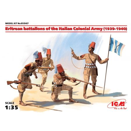ICM 35567 Eritrean battalions of the Italian Сolonial Army (1939-1940) (4 figures) (100% NUOVO STAMPO)