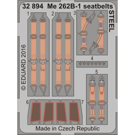 EDUARD 32894 Me 262B-1 seatbelts STEEL 1/32