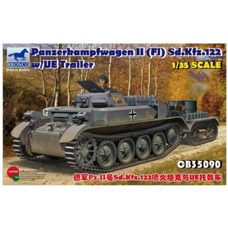 BRONCO MODELS Panzerkampfwagen II (Fl) Sd.Kfz. 122 w/UE Trailer